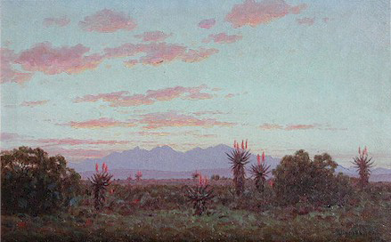 Evening, Riversdale Veld, painted by J E A Volschenk (1853 - 1936)